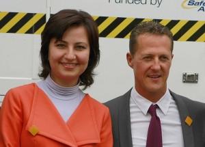Илиана Иванова и Михаел Шумахер, който подкрепи днес нейната инициатива за безопасно движение.