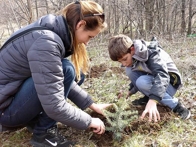 В залесяването на старозагорските покрайнини често участват дори деца с родителите си